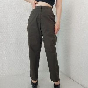 Eileen Fisher dark olive high-waist cropped pants